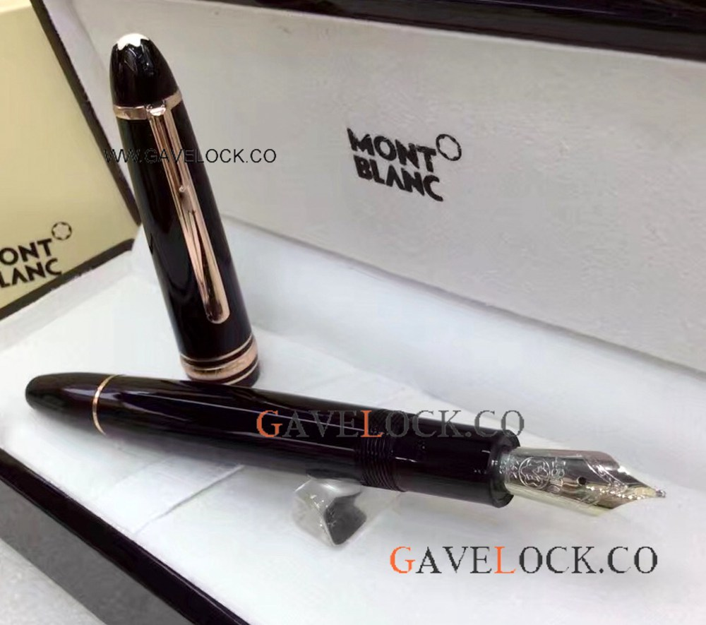 XL Mont Blanc Meisterstuck Pen / Rose Gold Clip Fountain Pen 149 Black Resin